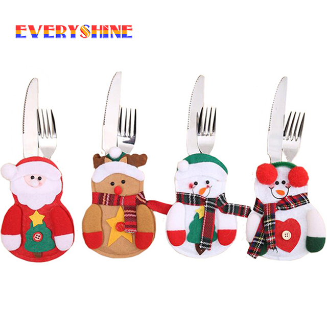 2019 New Year 3pcs/lot Christmas Decorations Spoon Fork Cover Santa Snowman Tableware Bags Dinner Party Supplies for Home SD191