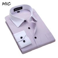 2017 New white collar Dress shirt men's long sleeved striped bussines casual foramal shirts men spring and summer large size