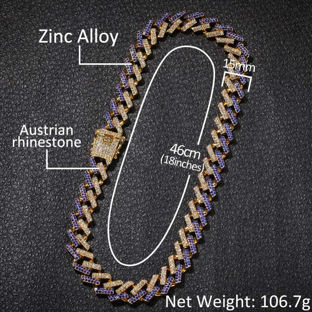 UWIN NE + BA moda naszyjniki biżuteria i bransoletki 15mm moda złoty kolor Iced Out 2 wiersz Prong kubański Link łańcuchy dla mężcz...