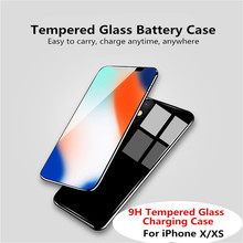 Ultra-Thin Tempered Glass Battery  Case for iPhone X XS Mobile Power Bank Charging Box External Power Bank Back Cover