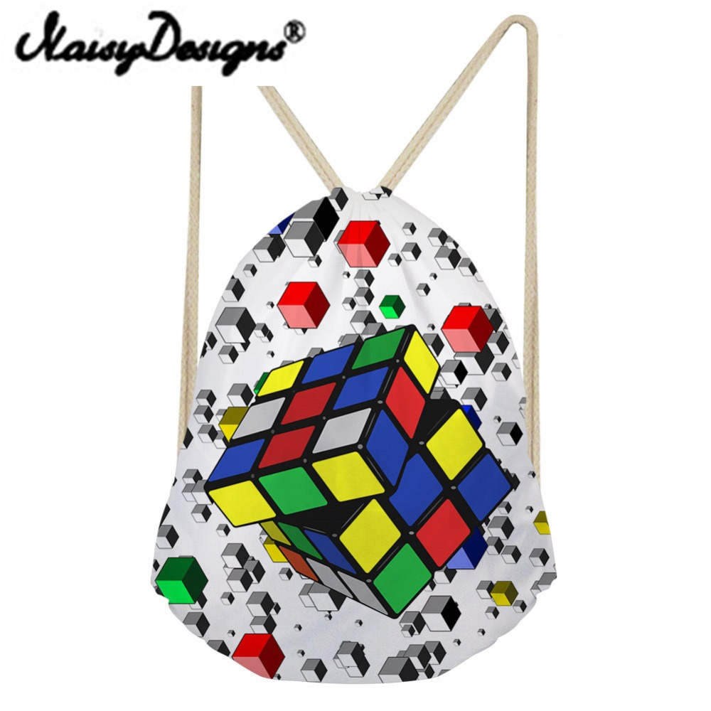 Noisydesigns 3D Rubik's Cube Printing Drawstring  Backpack  School Daypack For Women Kids Boys Storage Pocket Travel Mochila