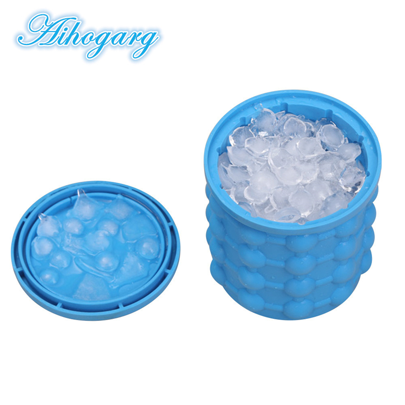 New Ice Cube Maker for Outdoor Party Drink Revolutionary Space Saving Ice-Ball Makers Bucket Silicone Trays Mold Kitchen Tools