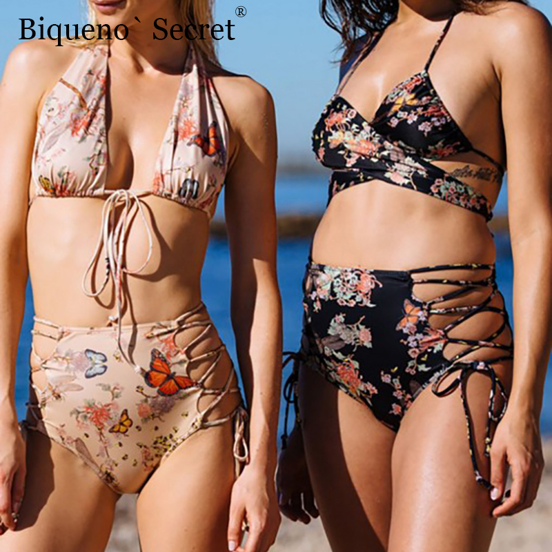 <font><b>2018</b></font> Plus Size High Waist <font><b>Swimsuit</b></font> <font><b>Sexy</b></font> Push Up <font><b>Swimwear</b></font> Bathing Suit Female String Bandage <font><b>Brazilian</b></font> <font><b>Bikini</b></font> Beach Wear NEW BSJ image