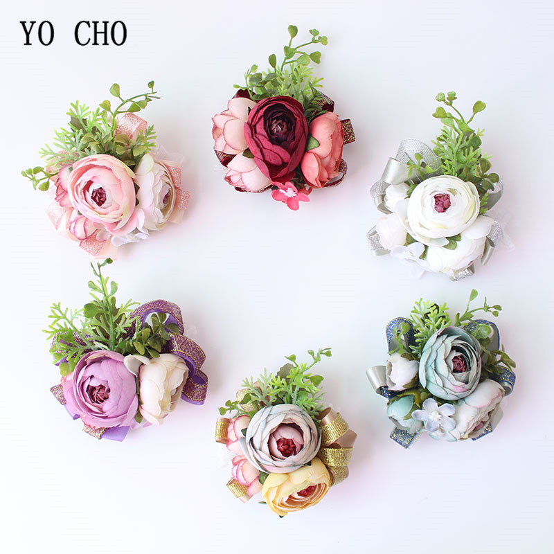 YO CHO Wrist Corsage Silk Roses Marriage Flowers Pink Cuff Bracelets Bridesmaid Groom Wedding Corsages And Boutonnieres Flowers