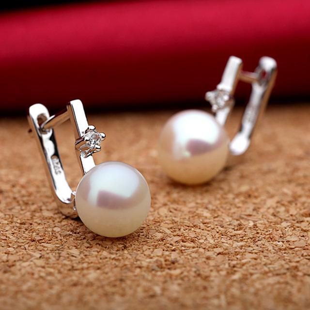 Natural Freshwater Pearl 925 Sterling Silver Hoop Earrings
