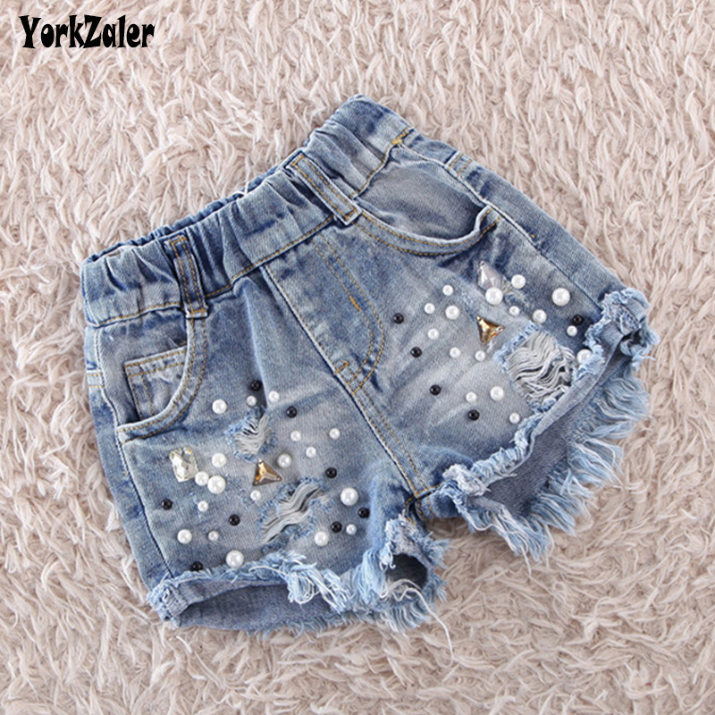 Yorkzaler Summer Girl Pearls Jeans 2018 Ripped Denim Short Pants s Kids Trousers Children Clothes Casual Toddler Pants 24M-6Y