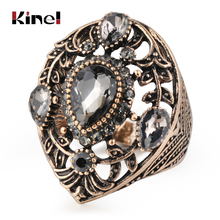 Kinel Vintage Jewelry Wholesale Gray Crystal Ring For Women Antique Gold Color Wedding Party Accessories Gifts 2019 New kinel unique antique gold gray crystal big ring for women vintage jewelry party accessories luxury gifts 2020 new drop shipping