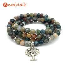 Модный цветной браслет beadztalk с каменными бусинами индийское