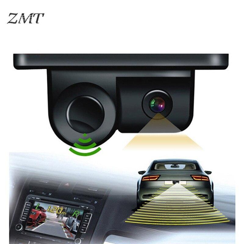 Caméra Radar de recul visuelle pour voiture deux-en-un Image de vue arrière du véhicule HD Auto Radar indicateur d'alerte sonore capteur de stationnement 3089
