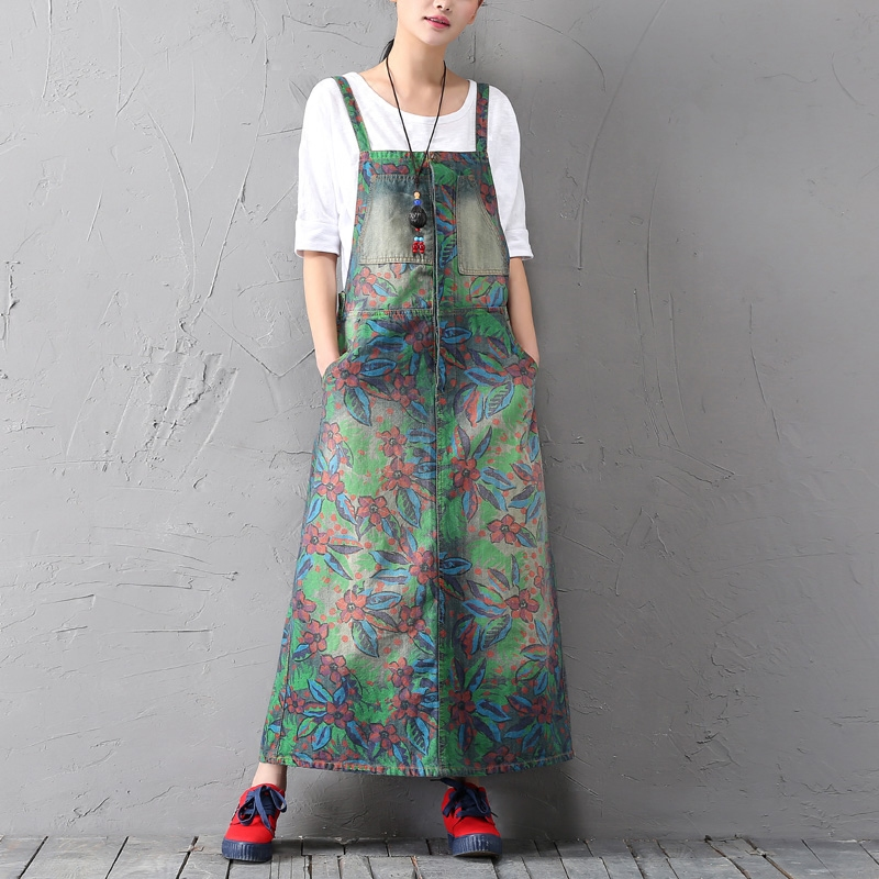 green floral flowers print literary sleeveless strap denim A-Line dress mori girl 2018 spring