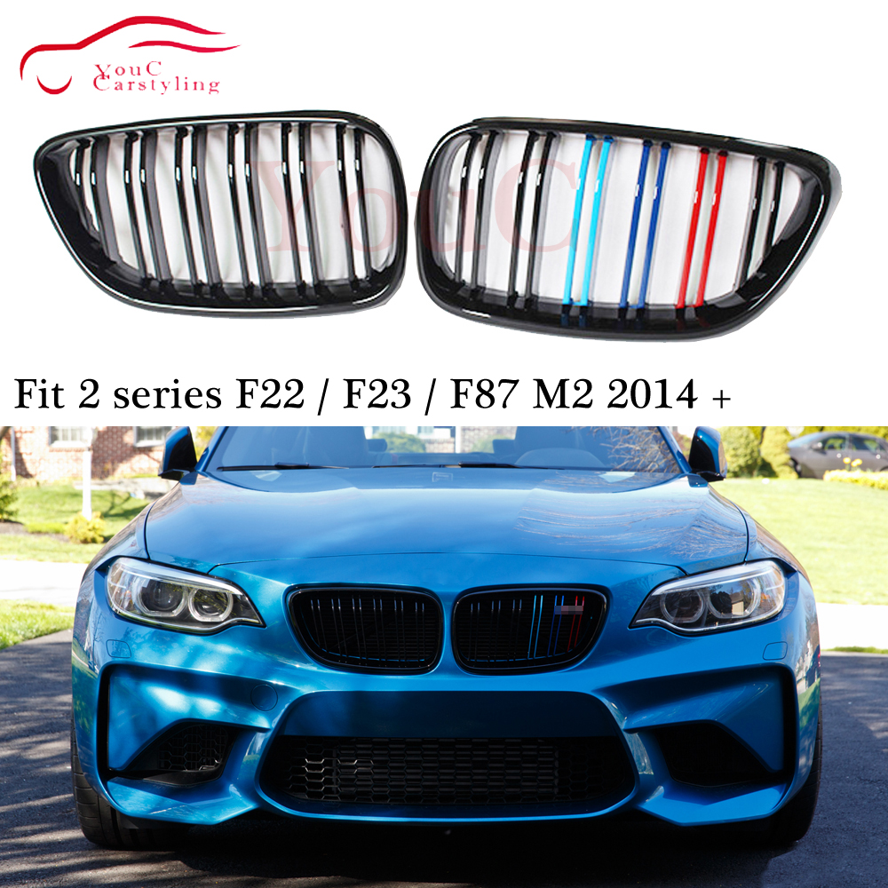 Shiny Black M2 Style Front Grille for BMW F22 F23 2-Series