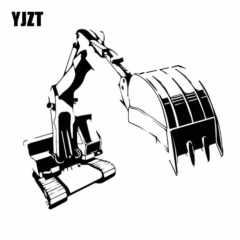 YJZT 15.5CM*14.1CM Excavating Machinery Window Vinyl Decal Car Sticker Black/Silver C27-0074