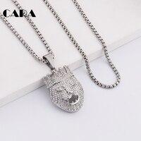 CARA New Arrival Silver Color Zinc Alloy Full Rhinestones Crown Lion Pendant Necklace Hip Hop Mens