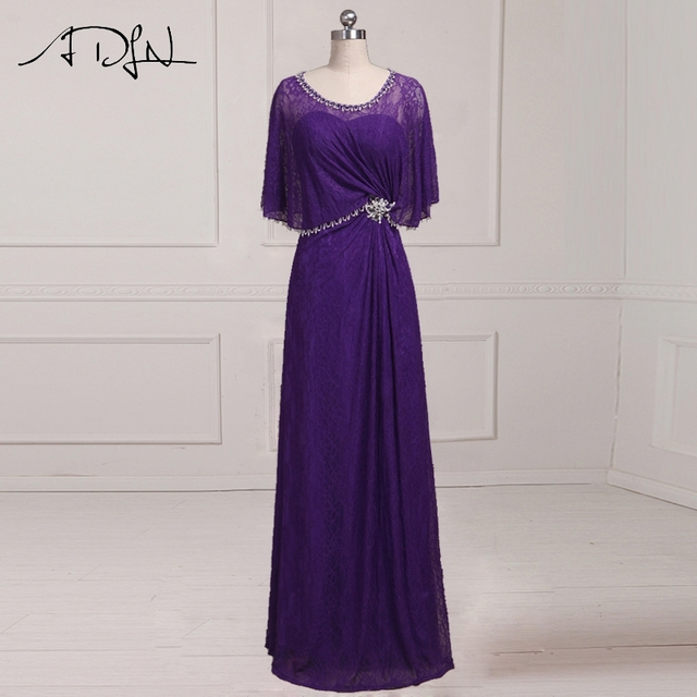 51d8f08760 ADLN Modest Long Lace Mother of the Bride Dresses Purple Evening Dresses  for Mother Beaded Crystal Wedding Guest Gown