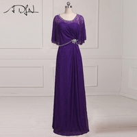 ADLN Modest Long Lace Mother of the Bride Dresses Purple Evening Dresses for Mother Beaded Crystal Wedding Guest Gown