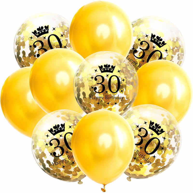 10 pcs 12 Polegada Misturar Confetti Feliz Aniversário Balões De Látex Conjunto Adultos 18 30 40 50 60 da Festa de Aniversário de Casamento decoração aniversário