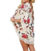 2017 Autumn Floral Shirt For Womens Elegant Open Blouses Print Boho Sexy Vinatge Blusas Lace Patchwork