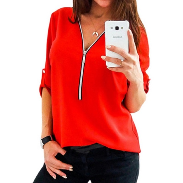 561ad3ce5be Naiveroo Women Chiffon Blouse Tops Sexy V Collar Zipper Roll Up Long  Sleeves Loose Shirt Blusa Feminina Vestidos Plus Size 3XL