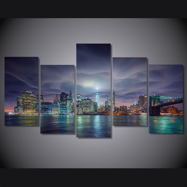 5 Pcs/Set Framed HD Printed New York City Night Picture Wall Art ...