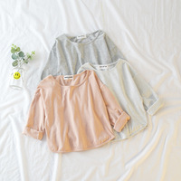 男の子の女の子にストライプカジュアルtシャツキッズ春秋の綿リネントップス赤ちゃんoネック長袖すべて
