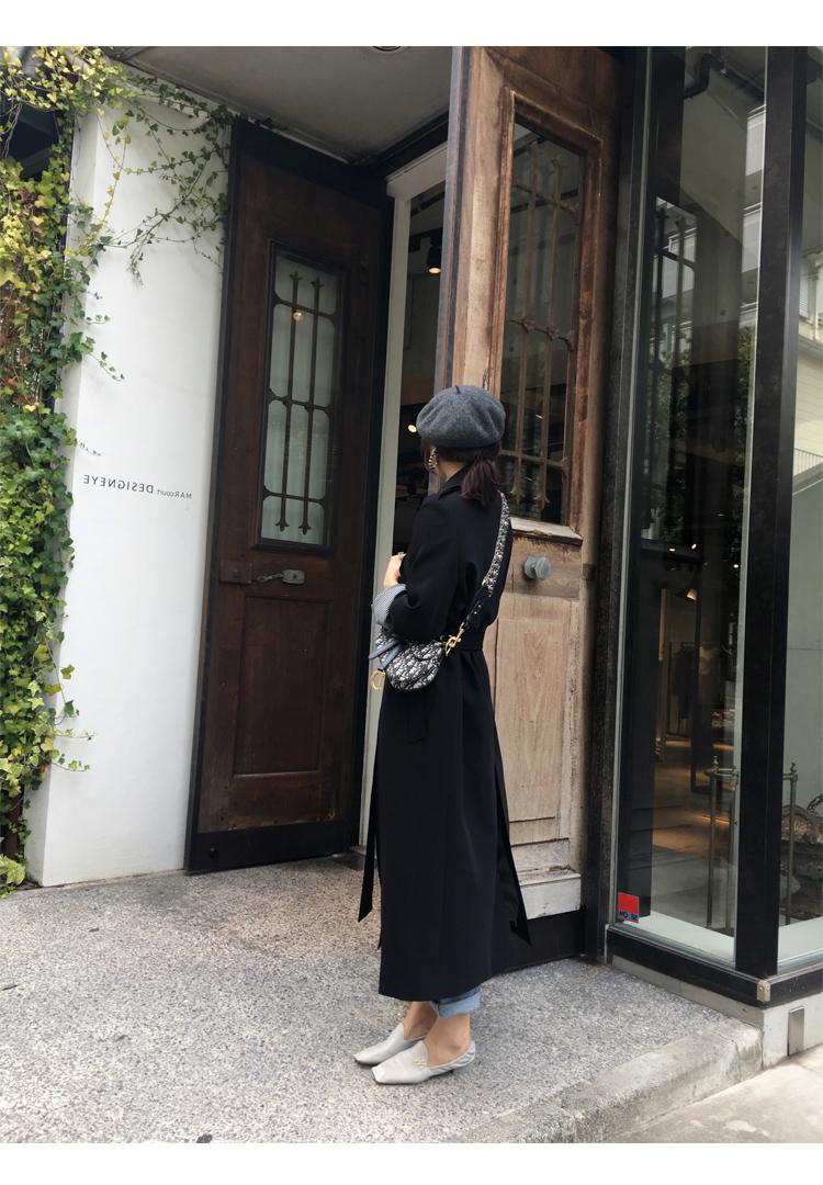 Spring Autumn Maxi Long Women's Loose Trench Coat With Belt Khaki & Black Plus Size Korean Style Windbreaker Outwear 11