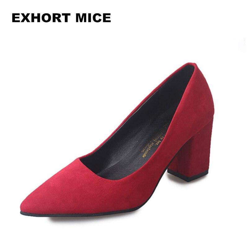 2019 Women Pumps Ankle Strap Thick Heel Women Shoes Square Toe Mid Heels Dress Work Pumps Comfortable Ladies Shoes 7CM #012