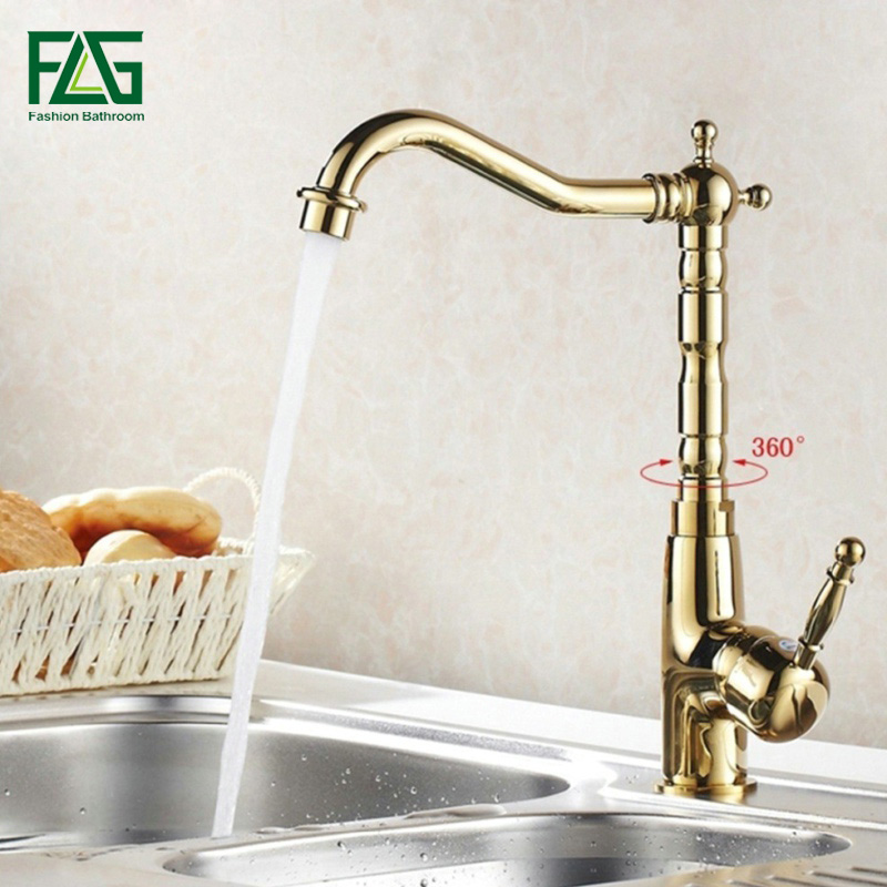 FLG Gold Kitchen Faucet Deck Mounted Cold and Hot Water Faucet 360 Degree Swivel Kitchen Sink Mixer Taps 1005 flg gold kitchen faucet deck mounted cold and hot water faucet 360 degree swivel kitchen sink mixer taps 1005