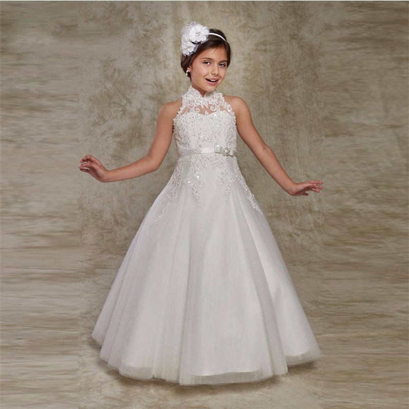 Hot Sale White Puffy Flower Girl Dresses for Girls vestido longo Beaded Applique First Communion Dresses ladylike applique beaded tank top for women