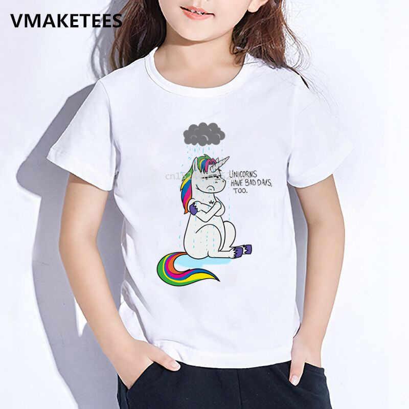 Kids Zomer Korte Mouw Meisjes & Jongens t-shirt Kinderen Eenhoorn Hebben Slechte Dag Cartoon Print T-shirt Grappige Baby Kleding, ooo5018