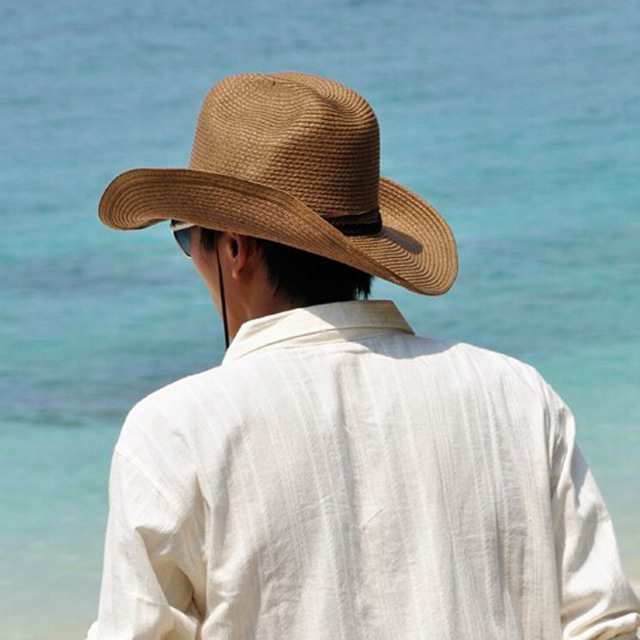 790917d920c OL 2018 New Fashion Men s Beach Straw Cowboy Hat Jazz Summer Sun hats Cowboy  Cap Fishing