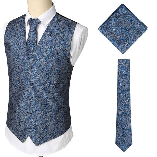 Мужские Классические Вечерние жаккардовые жилеты в клетку с узором пейсли и цветочным принтом, 3 предмета в комплекте(жилет с квадратным карманом и галстуком - Цвет: Blue