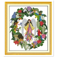 Floral Fairy 11CT 14CT Printed On Canvas DMC Cross Stitch Fabric Home Decoration Painting Chinese Counted