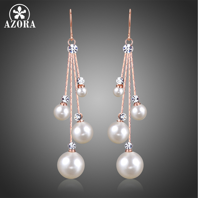 2dd8b606085 AZORA Women's Crystal Simulated Pearl Four Chain Bridal Long Dangle Hook  Earrings Ivory Color Fashion Jewelry Accessories TE0343-in Drop Earrings  from ...