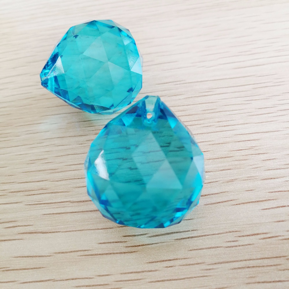 50pieces 30mm Aquamarine Feng Shui Crystal Ball Prisms For Home Decoration Accessories