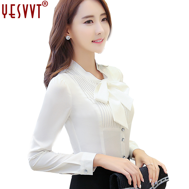 YESVVT autumn white Bow Women s shirts 2017 long sleeve blouses of large sizes OL ladies