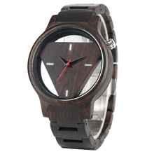 Black Wood Watch Men Hollow Triangle Shape Dial Fashion Man Watches Casual Wooden Strap Quartz Male Clock Sport Hour Gifts