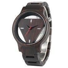 Zwart Hout Horloge Mannen Hollow Driehoek Shape Dial Mode Man Horloges Casual Houten Band Quartz Man Klok Sport Uur Cadeaus