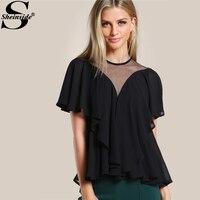 Sheinside Black Mesh Cut Out Flounce Tunic Blouses 2017 Summer Short Sleeve Plain Tops Women S