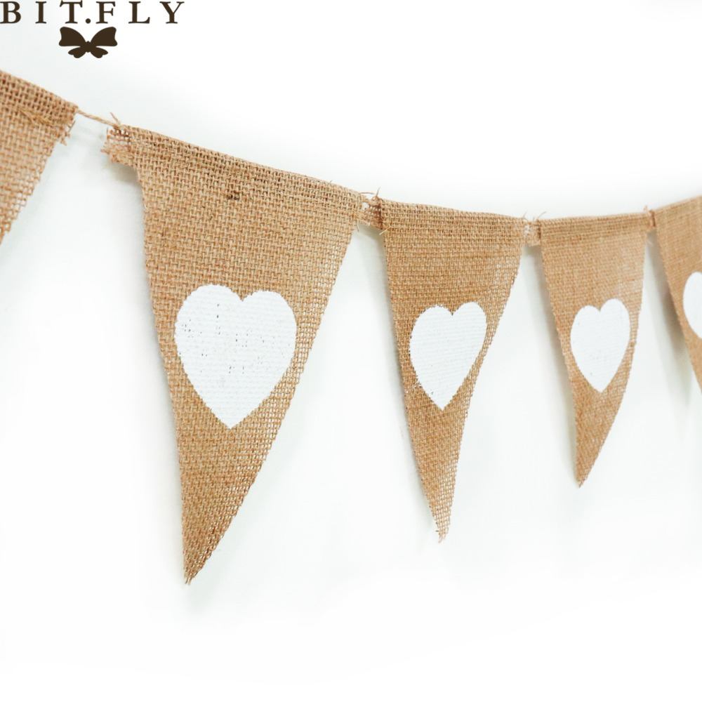 13 Flag Heart Burlap Bunting Banner Pennant Jute Fabric DIY Decor for Rustic  Wedding Party Birthday 470b0f579819
