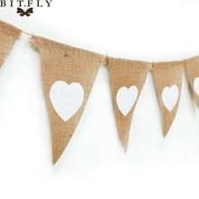 13 Flag Heart Burlap Bunting Banner Pennant Jute Fabric DIY Decor for Rustic Wedding Party Birthday Baby Shower Photography Prop