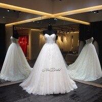 Robe de mariage שמלת כלה אלגנטית פשוטה מתוקה מחוך שמלות הכלה קפלת רכבת vestido לונגו