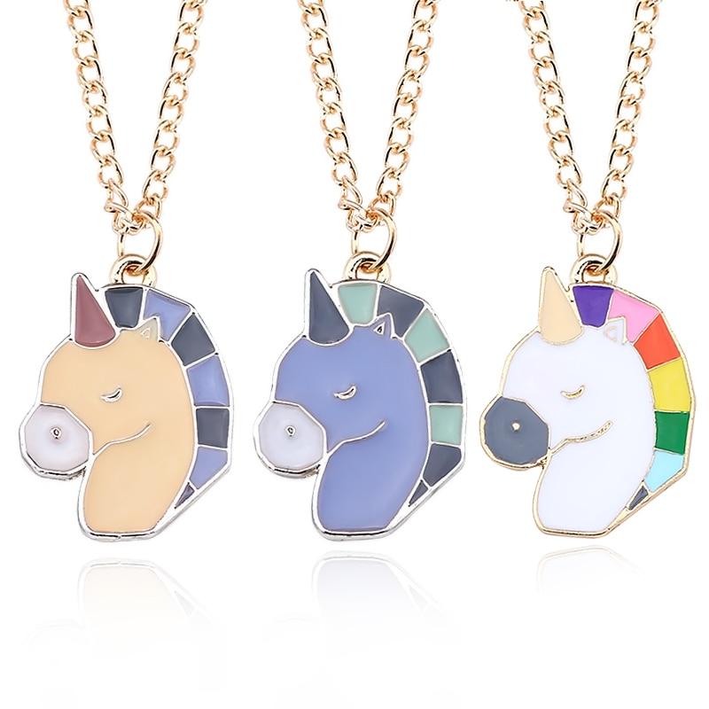 DIY Cute Animal Necklace Kawai Unicorn Pendant Cartoon Rainbow Horse Choker Gold Chain Childhood Necklaces&Pendants Dropshipping