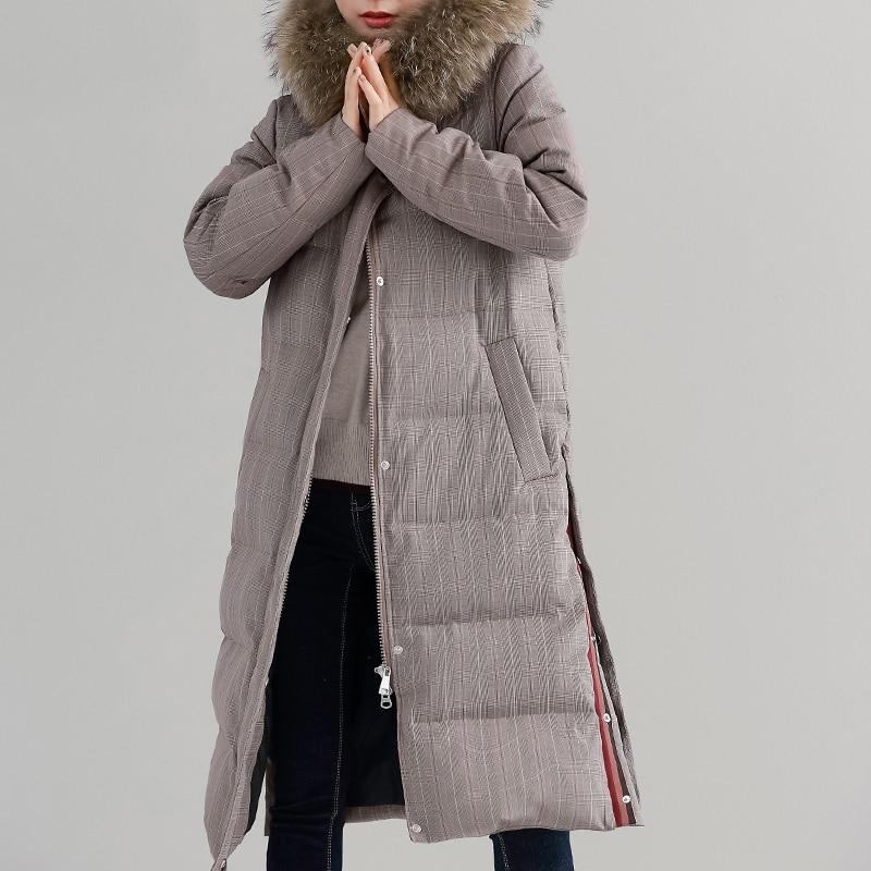 Кофейный плед Зимний пуховик женский натуральный мех енота воротник парка Длинная Верхняя одежда 2018 мода женский s 90% белый утиный пух пальт