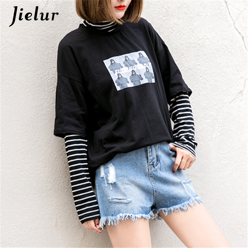 Jielur Korean Cartoon Letter Printed Female Sweatshirt Striped False Two-piece Pachwork Hoodies For Women Turtleneck Loose Top