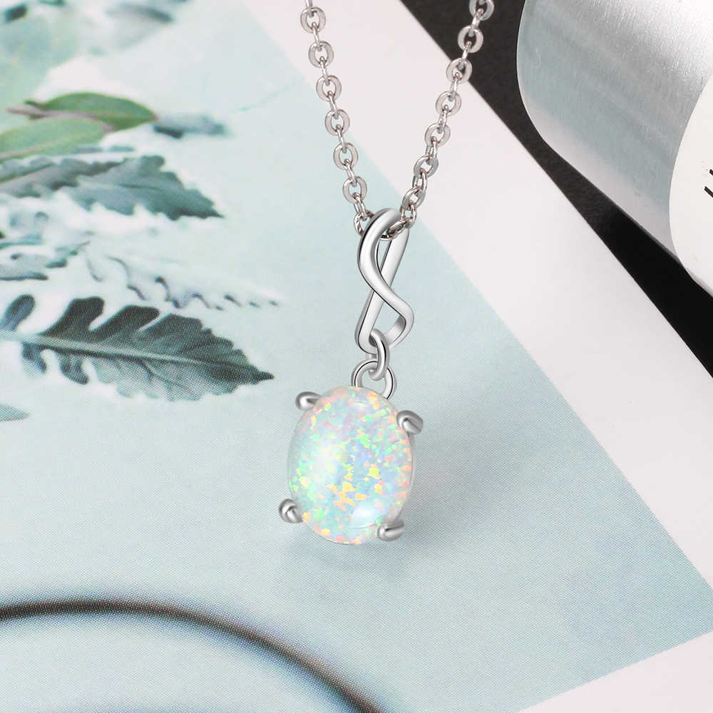 925 Sterling Silver Infinity Pendant Necklaces for Women Created Oval White Opal Necklace Jewelry Gift for Mother (Lam Hub Fong)