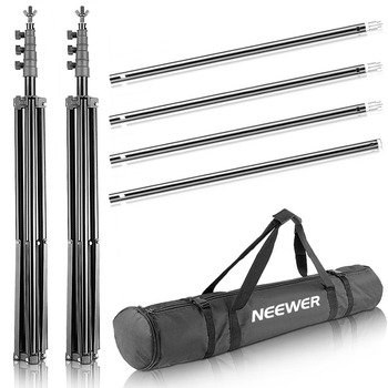 Neewer 2.6M x 3M/8.5ft x10ft Background Support System and 800W 5500K Umbrellas Softbox Continuous Lighting Kit for Photo Studio