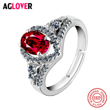 High Quality 925 Sterling Silver Rings Red Crystal CZ Sweet Women Ring Luxury Jewelry Wedding Christmas Gift