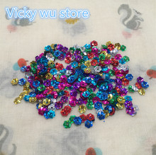 2000pcs Multi Mixed with golden undertone 7mm Plum Blossom Cup Loose Sequins Paillette Sewing,Wedding Confetti Craft Garment
