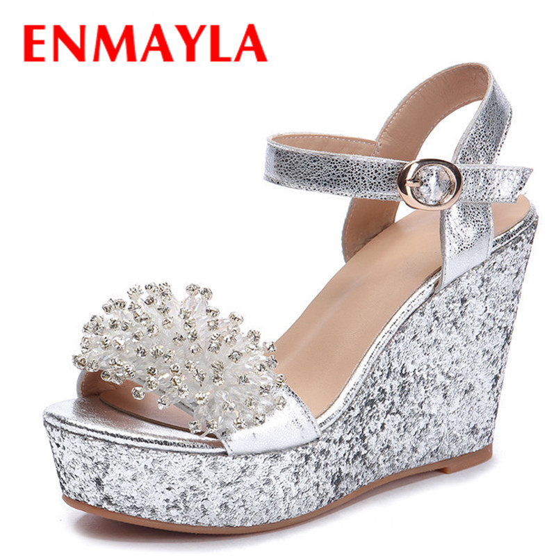 ENMAYLA Summer Rhinestone Ladies Sandals Women High Heels Wedges Shoes Woman Platform Sandals Ctrystal Wedding Women's Shoes  enmayla flowers wedges heels platform sandals women open toe high heels shoes woman solid color ladies sandals female shoes