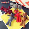 50pcs/lot Bear Keychain Soft Plush Keyring Ol' Patch HEARTFORD key Ring Bag Pendant Animal key chain bear key chain